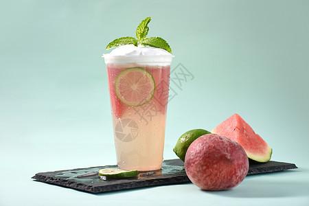 柠檬西瓜桃汁盖奶图片