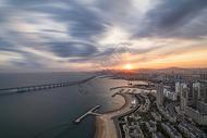 海滨城市大连落日图片