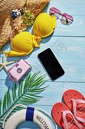 夏日度假静物色彩搭配图片