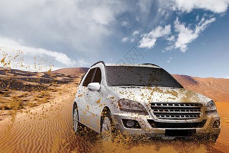 汽车沙漠场景图片