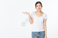 青年女孩手势托举动作图片