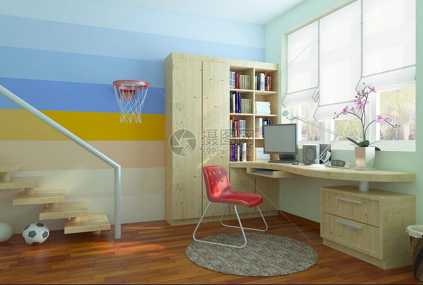 儿童房书桌书柜图片