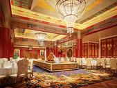 大气的中式宴会大厅图片