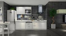 现代黑白灰厨房图片