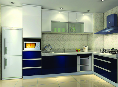 深色系厨房图片