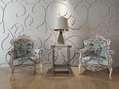 简欧风座椅茶几组合图片