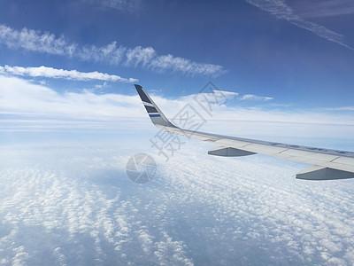 千米高空机舱外的蓝天白云和机翼图片