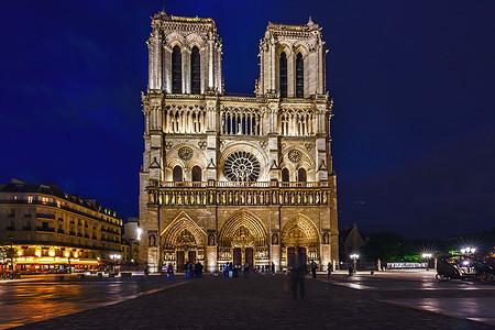 巴黎圣母院夜景图片