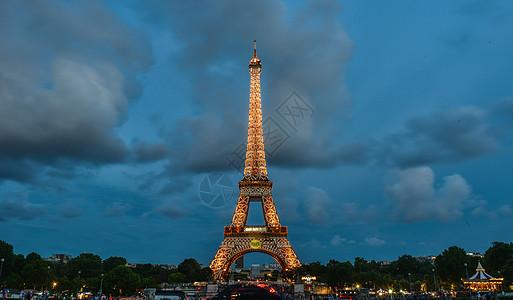 法国巴黎埃菲尔铁塔夜景图片