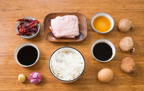 香辣五花肉盖饭食材图图片