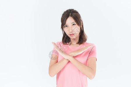 运动女性拒绝手势图片