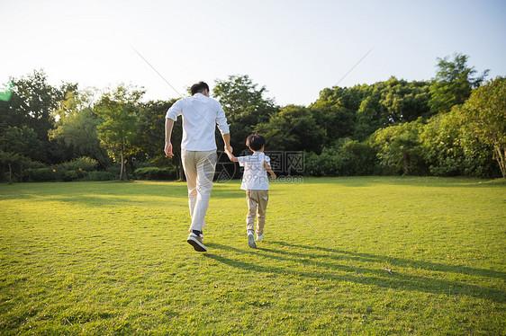 公园里父子牵手跑步背影图片