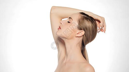 欧美美女美妆展示动作图片