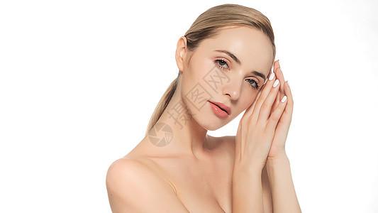 外国美女美妆展示动作图片