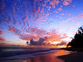 北美洲巴巴多斯海边的炫丽晚霞图片