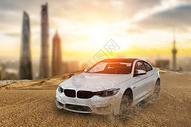沙漠行驶的汽车图片