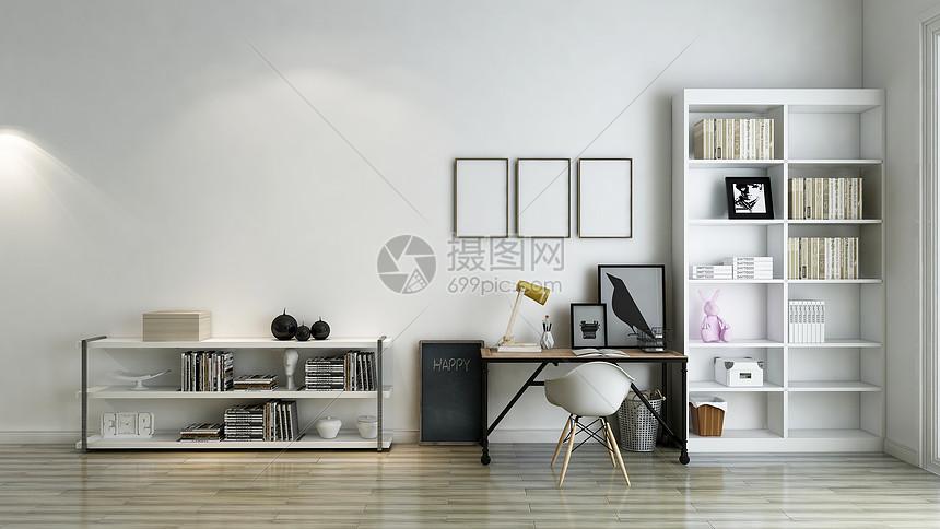 室内装修卧室背景墙_书房背景图片素材-正版创意图片500960061-摄图网