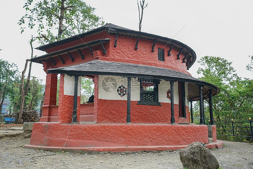 尼泊尔大卫瀑布印度教建筑图片
