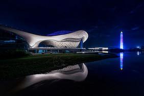 江西九江文化艺术中心城市夜景图片