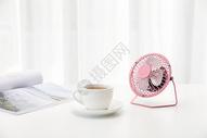 咖啡书与小风扇图片