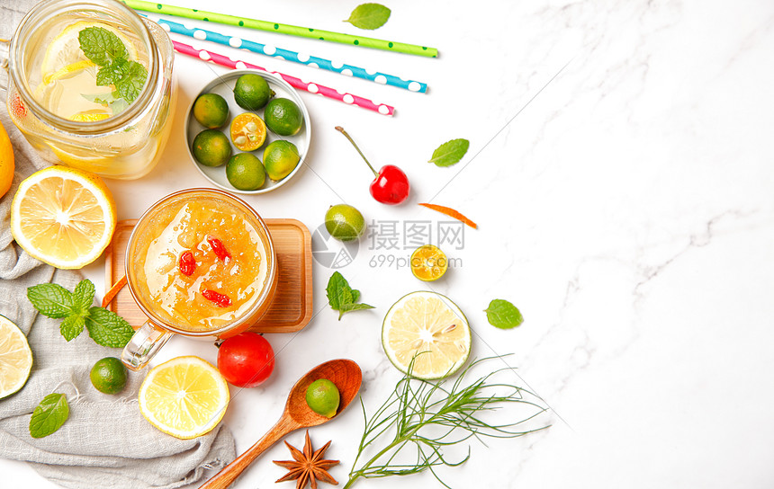 夏季柠檬柚子茶图片