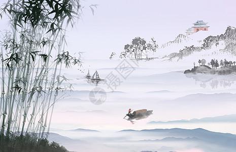 墨竹山水画图片