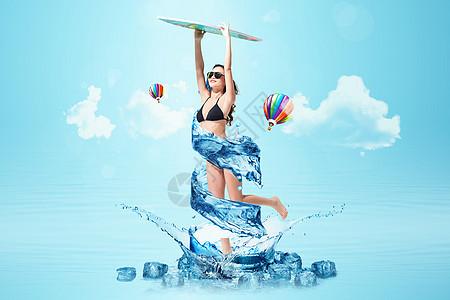 夏日旅游抽象创意图片