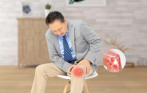 老人膝关节疼图片