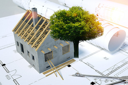 工程图纸上的树房子图片