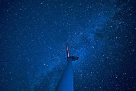 巨大风车上的银河星空图片