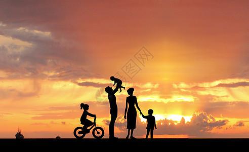 夕阳一家人 图片