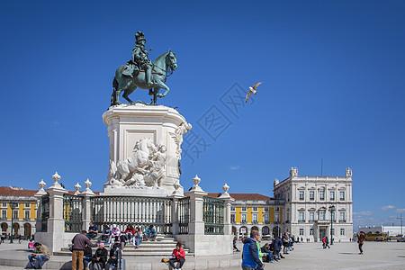 葡萄牙里斯本商业广场黑马广场约瑟一世青铜雕像图片