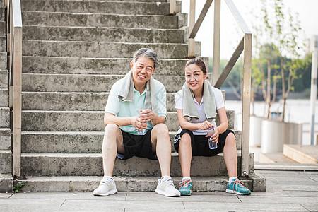 老年人运动休息图片