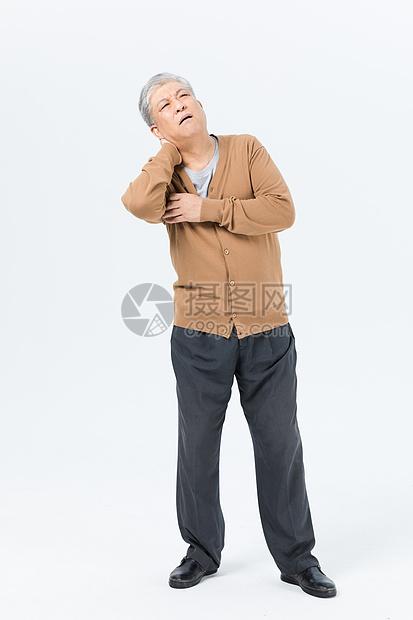 老年男性脖子疼形象图片