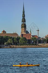 多瑙河畔上的历史文化名城拉脱维亚里加圣彼得堡大教堂图片