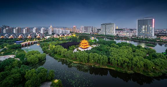 沂蒙邻水生态小城沂水城市湿地鸟瞰景观图片