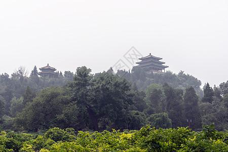 雾霾景山图片
