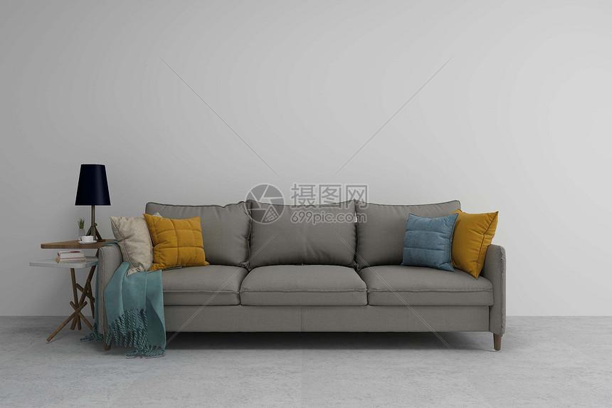 灰色沙发图片