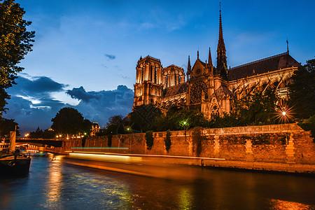 巴黎圣母院夜景风光图片