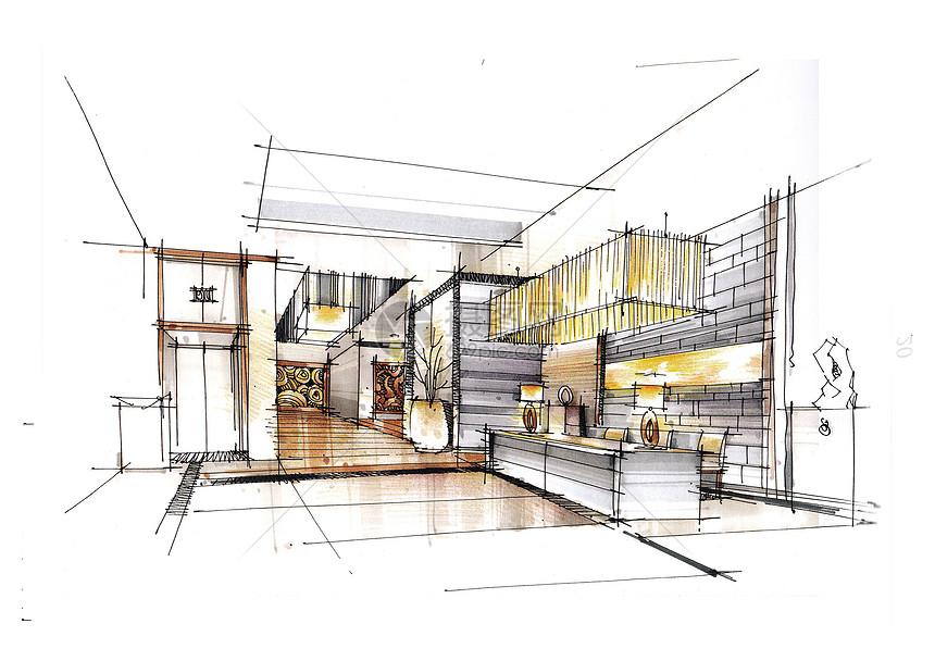 图纸手绘楼房图纸v图纸半二层素描厨房图片
