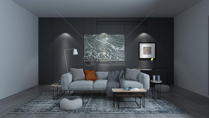 现代黑白灰客厅图片