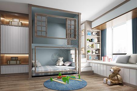 中式儿童房效果图图片