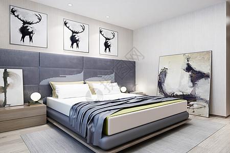 北欧卧室效果图图片