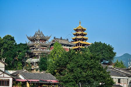 重庆磁器口吊脚楼宝轮寺古建筑图片