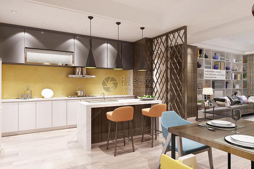现代餐厅厨房图片