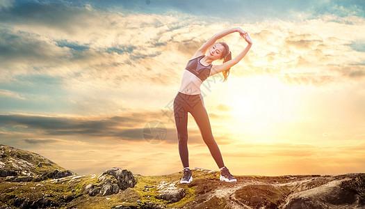 山顶做运动锻炼图片