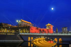 西安古城月色图片