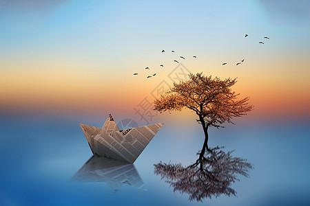 湖泊上的纸船图片