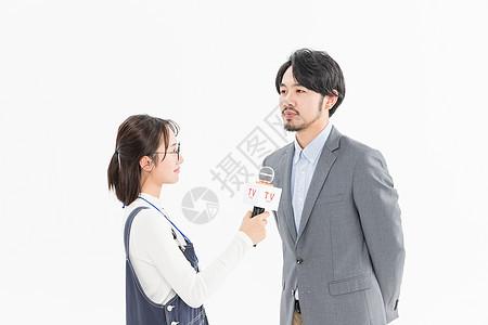 新闻记者采访商务男性图片