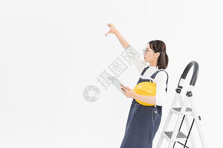 女工程师施工检查图片